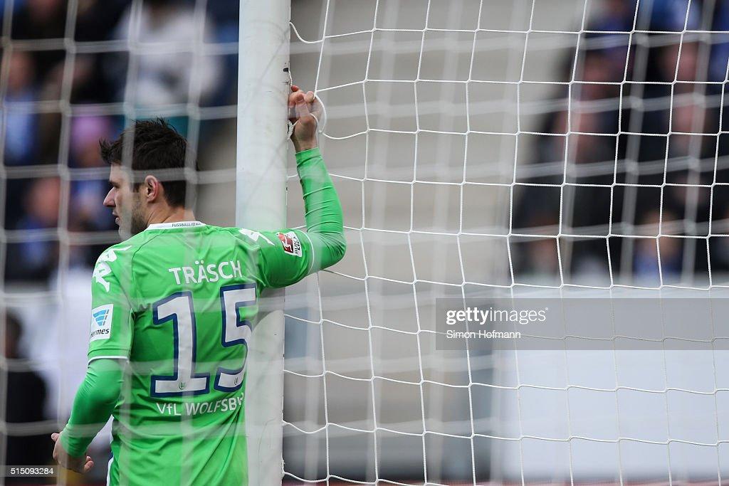 Christian Traesch of Wolfsburg reacts during the Bundesliga match between 1899 Hoffenheim and VfL Wolfsburg at Wirsol Rhein-Neckar-Arena on March 12, 2016 in Sinsheim, Germany.