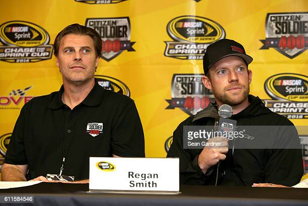 Christian Tureaud and Regan Smith driver of the Citizen Soldier Chevrolet speak to the media during a press conference for the film Citizen Soldier...