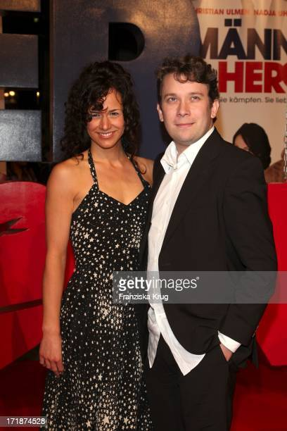 "Christian Ulmen With Wife Huberta In The Germany premiere of the movie ""Men in the City"" in Cinemax on Potsdamer Platz in Berlin"