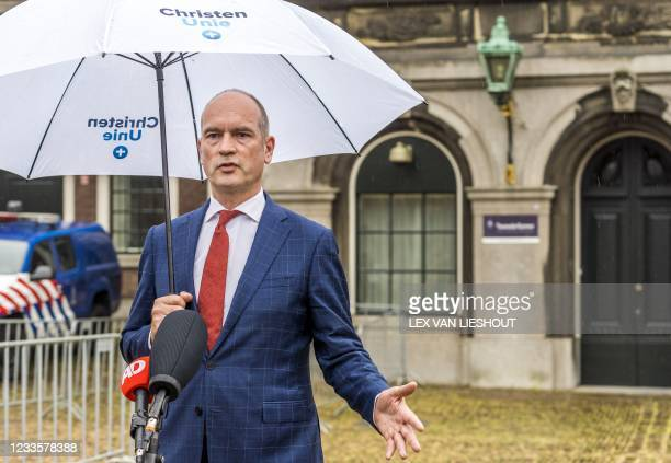 Christian Union leader Gert-Jan Segers addresses the press after a conversation with informateur Mariette Hamer who had instructed the group leaders...