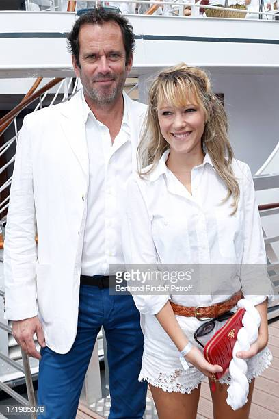 Christian Vadim and his wife Julia Livage attend 'Brunch Blanc' hosted by Groupe Barriere for Sodexho with a cruise in Paris on June 30 France