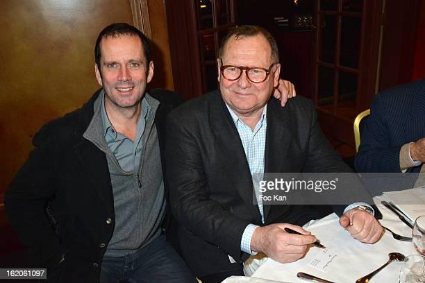 Christian Vadim and Patrice Monmousseau attend the 18 eme Edition des Journees du Livre et Du Vin 2013' Jury Lunch at the Hotel Lutetia on February...