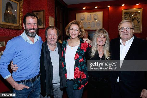 Christian Vadim, Daniel Russo, Corinne Touzet, Lucie Russo and Director of Theatre Des Varietes, Jean-Manuel Bajen attend the 100th representation of...