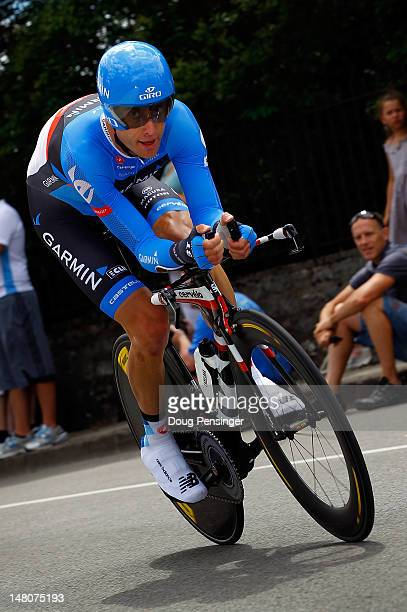 Christian Vande Velde of the USA riding for Garmin-Sharp races to 89th place in the individual time trial on stage nine of the 2012 Tour de France...