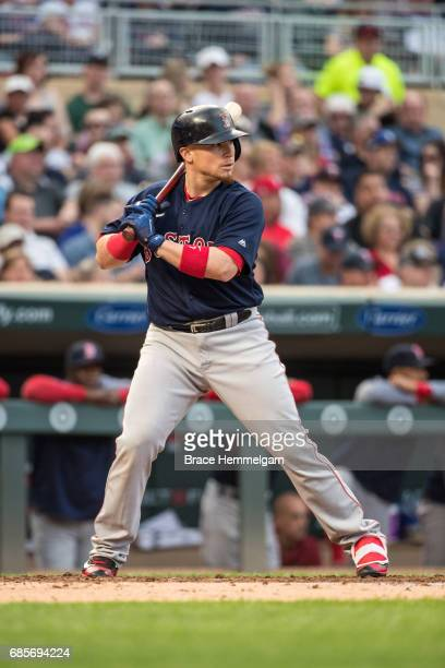 Christian Vazquez of the Boston Red Sox bats against the Minnesota Twins on May 5 2017 at Target Field in Minneapolis Minnesota The Twins defeated...