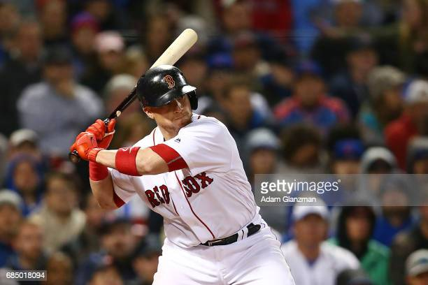Christian Vazquez of the Boston Red Sox bats during a game against the Chicago Cubs at Fenway Park on April 30 2017 in Boston Massachusetts
