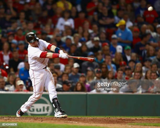 Christian Vazquez of the Boston Red Sox hits a rbi double to center field in the bottom of the fourth inning durng the game against the Kansas City...