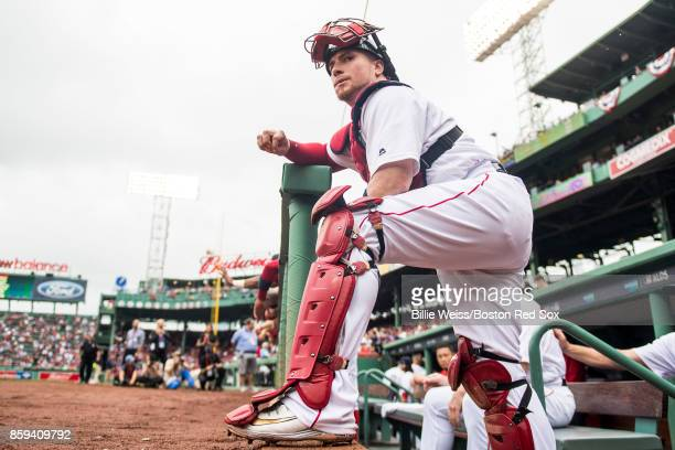Christian Vazquez of the Boston Red Sox looks on before game four of the American League Division Series against the Houston Astros on October 9 2017...