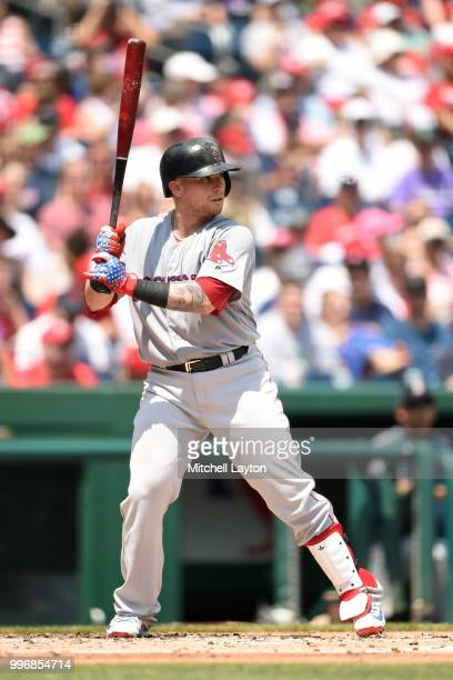 Christian Vazquez of the Boston Red Sox prepares for a pitch during a baseball game against the Washington Nationals at Nationals Park on July 4 2018...