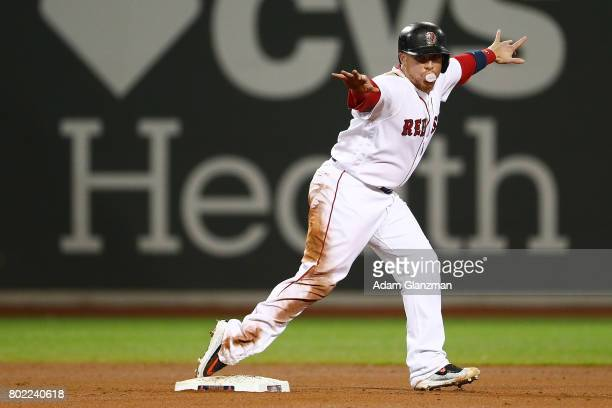 Christian Vazquez of the Boston Red Sox reacts after he steals second base in the fourth inning of a game against the Minnesota Twins at Fenway Park...