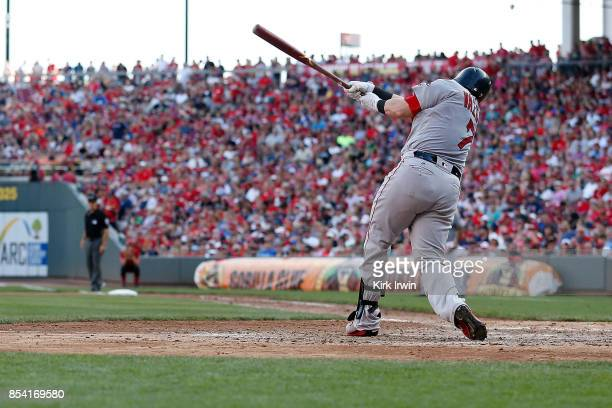Christian Vazquez of the Boston Red Sox takes an at bat during the game against the Cincinnati Reds at Great American Ball Park on September 23 2017...
