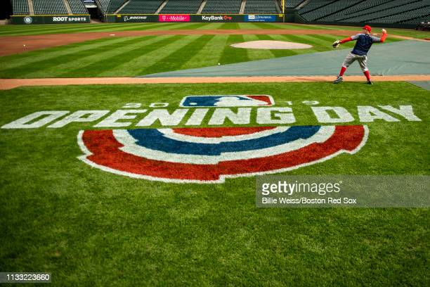 Christian Vazquez of the Boston Red Sox throws during a team workout before Opening day at TMobile Park in Seattle Washington on March 27 2019