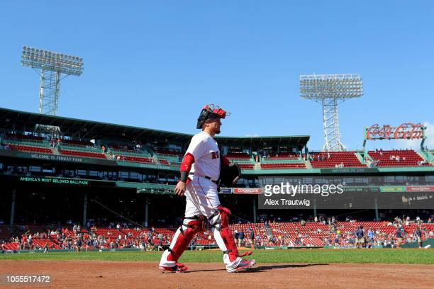 Christian Vazquez of the Boston Red Sox walks to the bullpen prior to the start of the game against the New York Yankees at Fenway Park on Saturday...