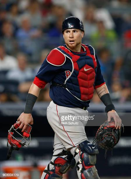 Christian Vazquez of the New York Yankees in action during a game against the Boston Red Sox at Yankee Stadium on August 31 2017 in the Bronx borough...
