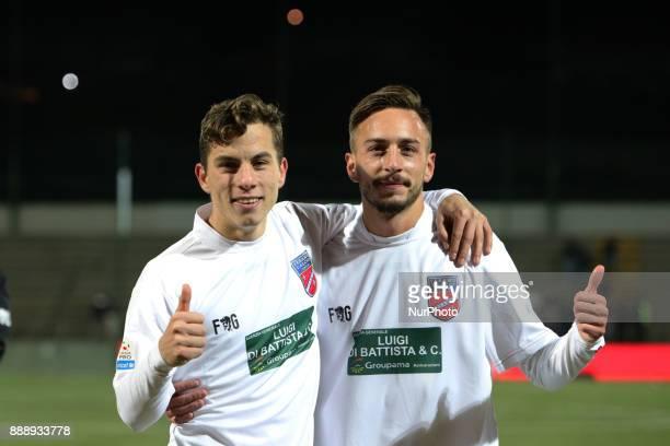 Christian Ventola of Teramo Calcio 1913 and Antonio Bacio Terracino of Teramo Calcio 1913 celebrate the victory of the Lega Pro 17/18 group B match...