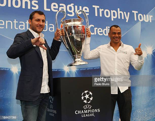 Christian Vieri and Cafu' pose with the UEFA Champions League Trophy during the UEFA Champions League Trophy Tour 2012/13 on October 19 2012 in Rome...