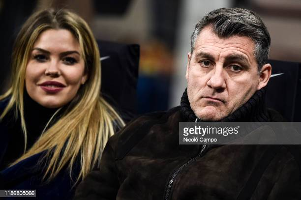Christian Vieri and Costanza Caracciolo attend the Serie A football match between FC Internazionale and AS Roma. The match ended in a 0-0 tie.