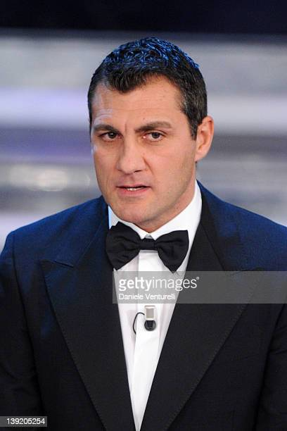 Christian Vieri attends the fourth day of the 62th Sanremo Song Festival at the Ariston Theatre on February 17 2012 in SANREMO Italy