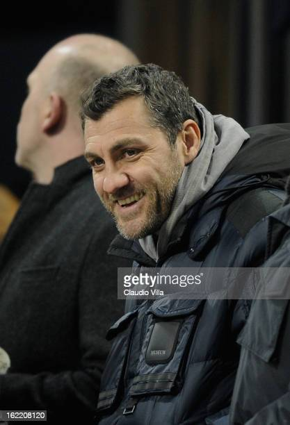Christian Vieri attends the UEFA Champions League Round of 16 first leg match between AC Milan and Barcelona at San Siro Stadium on February 20 2013...