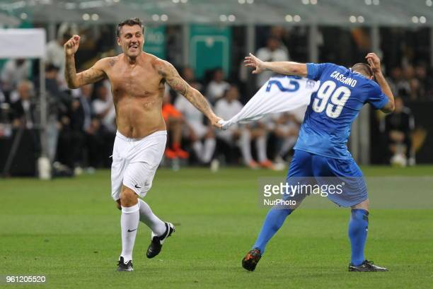 Christian Vieri celebrates after scoring with Antonio Cassano during quotLa partita del Maestroquot the farewell match by Andrea Pirlo at Giuseppe...