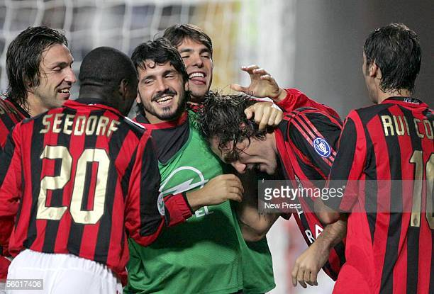 Christian Vieri Clarence Seedorf Andrea Pirlo Ivan Guttuso Busce Kaka and Rui Costa celebrate a goal during the Serie A match between Empoli and AC...