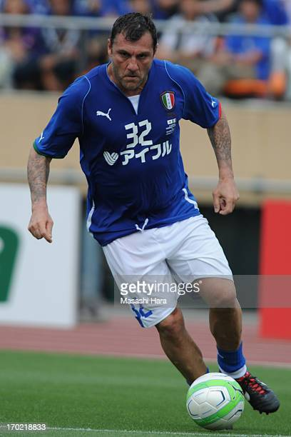 Christian Vieri in action during the JLeague Legend and Glorie Azzurre match at the National Stadium on June 9 2013 in Tokyo Japan