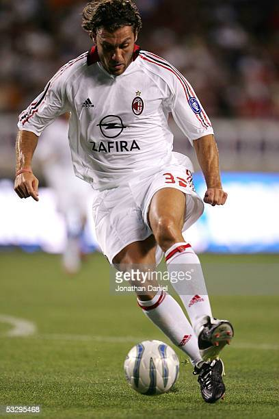 Christian Vieri of AC Milan turns upfield against the Chicago Fire during a friendly match on July 27 2005 at Soldier Field in Chicago Illinois AC...