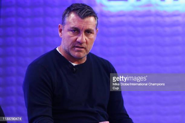 Christian Vieri of Atletico Madrid speak during the 'El Derbi Madrileno' panel during day two of the International Champions Cup launch event at 107...