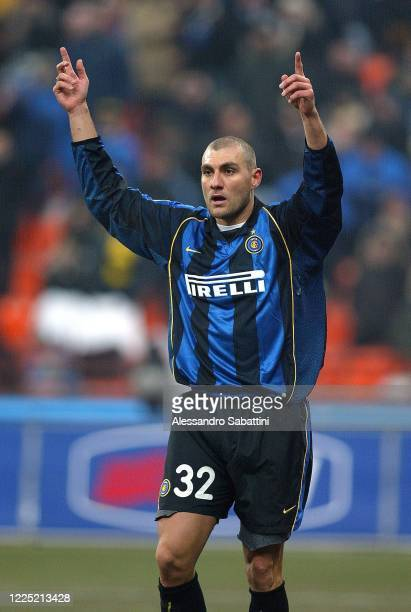 Christian Vieri of FC Internazionale gestures during the Serie A 20012 Italy