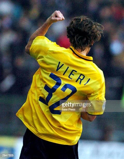 Christian Vieri of Inter celebrates scoring during the Serie A match between Sampdoria and Inter at the Luigi Ferraris stadium on February 8 2004 in...