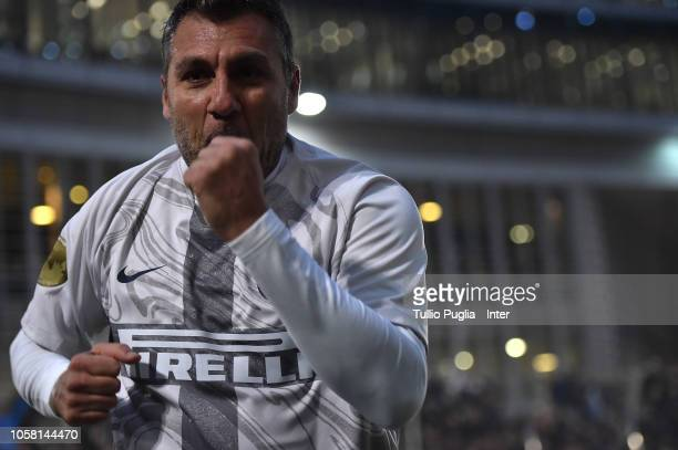 Christian Vieri of Inter Forever celebrates after winning the match between FC Internazionale Legends and FC Barcelona Legends at on November 6 2018...