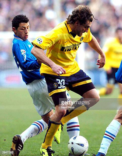 Christian Vieri of Inter in action during the Serie A match between Sampdoria and Inter at the Luigi Ferraris stadium on February 8 2004 in Genova...