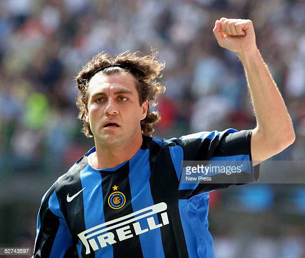 Christian Vieri of Inter Milan celebrates scoring their second goal during the Serie A match between Inter Milan and Siena at the Giuseppe Meazza San...