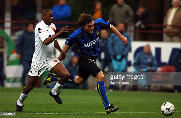 Christian Vieri of Inter Milan goes past Aldair of Roma during the Serie A match between Inter Milan and Roma played at the Giuseppe Meazza San Siro...