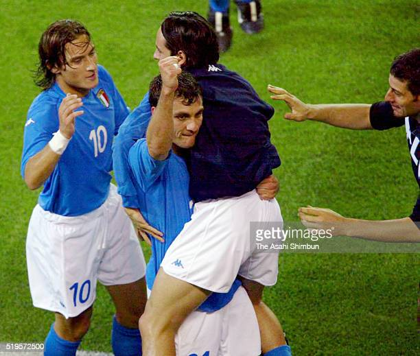 Christian Vieri of Italy celebrates scoring his team's first goal with his team mates during the FIFA World Cup Korea/Japan Group G match between...