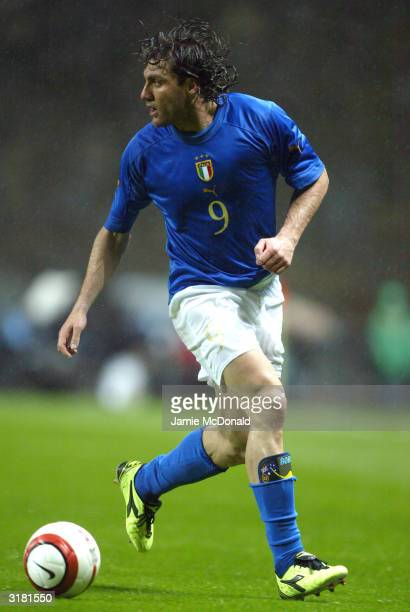 Christian Vieri of Italy in action during an International Friendly match between Portugal and Italy at Braga International Stadium on March 31 2004...