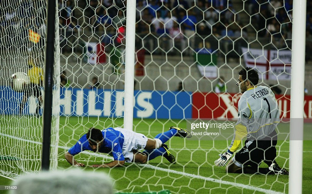 Christian Vieri of Italy thinks he scores the opening goal only to see it ruled out for an offside during the FIFA World Cup Finals 2002 Group G match between Italy and Croatia played at the Ibaraki-Prefecutural Kashima Soccer Stadium, in Ibaraki, Japan on June 8, 2002. Croatia won the match 2-1. DIGITAL