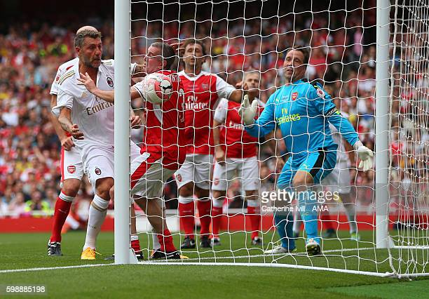 Christian Vieri of Milan Glorie scores a goal to make it 11 during the Arsenal Foundation Charity match between Arsenal Legends and Milan Glorie at...