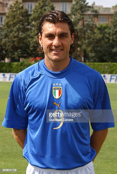 Christian Vieri of the Italian footlball team poses for photographer on May 27 2004 at Coverciano sports ground in Florence Italy The Italian team...