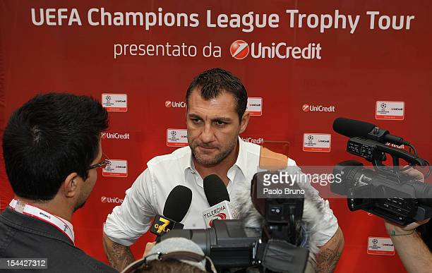 Christian Vieri speaks with the press during the UEFA Champions League Trophy Tour 2012/13 on October 19 2012 in Rome Italy