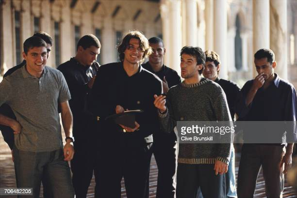Christian Vieri,Paolo Maldini and Allessandro del Piero of Italy pose for a portrait for soft drinks manufacturer Pepsi-Cola on 23 December 1999 in...