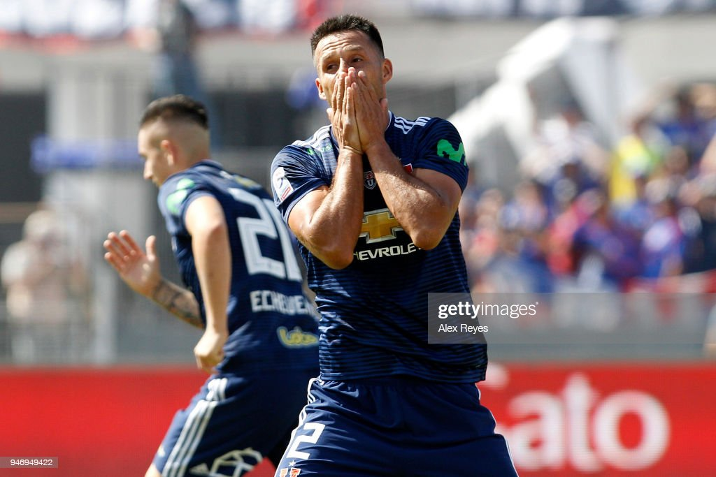 Christian Vilches of U de Chile reacts during a match between U de Chile and Colo Colo as part of Torneo Scotiabank 2018 at Estadio Nacional de Chile on April 15, 2018 in Santiago, Chile.