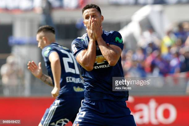 Christian Vilches of U de Chile reacts during a match between U de Chile and Colo Colo as part of Torneo Scotiabank 2018 at Estadio Nacional de Chile...