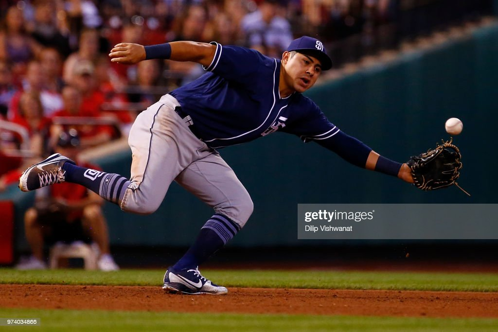 Christian Villanueva #22 of the San Diego Padres attempts to play a ground ball against the St. Louis Cardinals in the fourth inning at Busch Stadium on June 13, 2018 in St. Louis, Missouri.
