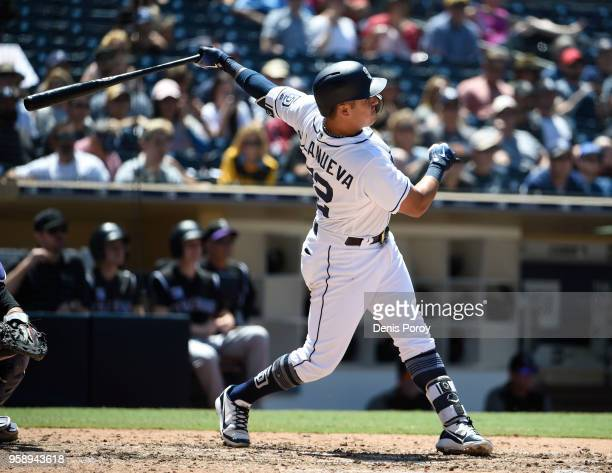 Christian Villanueva of the San Diego Padres hits a tworun home run during the sixth inning of a baseball game against the Colorado Rockies at PETCO...