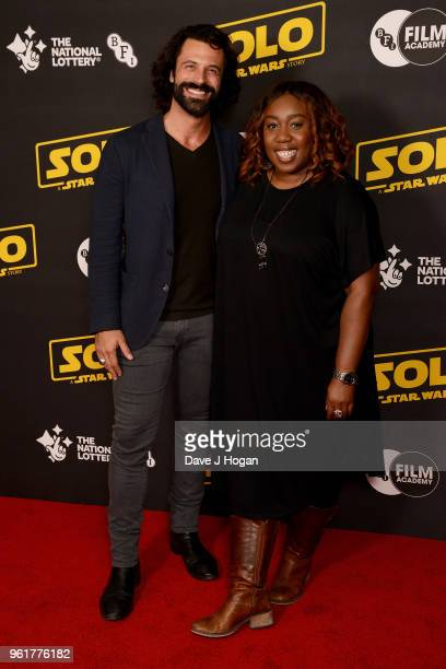 Christian Vit and Chizzy Akudolu attend a special screening of 'Solo A Star Wars Story' to celebrate the film's BFI Film Academy trainees at BFI...