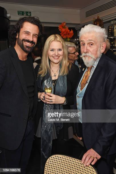 Christian Vit Susie Howard and Jarvis Cocker attend the launch of John Swannell's photography exhibition at Le Caprice on February 5 2019 in London...