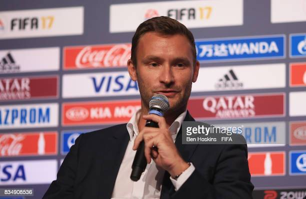 Christian Volk FIFA Head of Digital Marketing talks during day three of the FIFA Interactive World Cup 2017 Grand Final at Central Hall Westminster...
