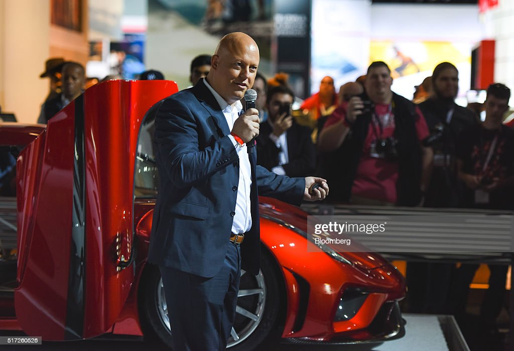 Christian von Koenigsegg, founder of Koenigsegg Automotive AB, speaks while standing next to the Regera luxury vehicle during the 2016 New York International Auto Show in New York, U.S., on Thursday, March 24, 2016. Koenigsegg showed its $2 million Regera 'hypercar' for the first time ever in the United States. Photographer: Ron Antonelli/Bloomberg via Getty Images