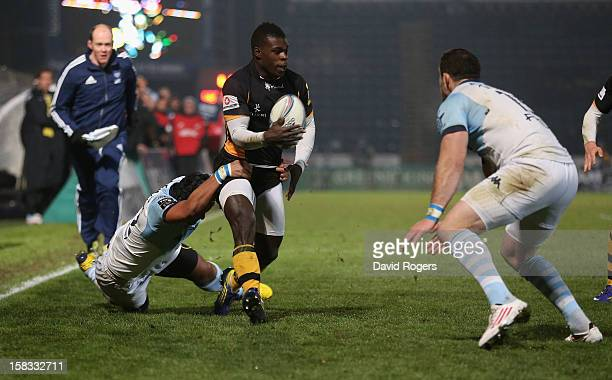 Christian Wade of Wasps charges upfield during the Amlin Challenge Cup match between London Wasps and Bayonne at Adams Park on December 13 2012 in...